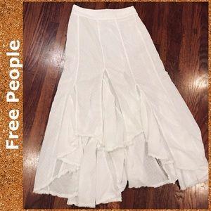 Free People White Eyelet Handkerchief Maxi Skirt